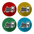 Vector set of different train illustrations or symbols