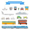 Vector set of different transportation vehicles isolated on white background. Urban transport icons in flat style design