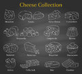 Vector set of different types of cheese, hand drawn illustration on chalkboard background.