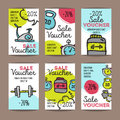 Vector set of discount coupons for sport accessories. Colorful doodle style voucher templates. Gym and fitness equipment Royalty Free Stock Photo