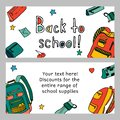 Vector set of discount coupons for stationery accessories. Colorful doodle style voucher templates.