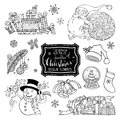 Vector set of doodles Christmas design elements isolated on white background. Royalty Free Stock Photo