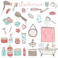 Vector set of drawn bathroom themed objects and appliances Royalty Free Stock Photo
