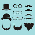 Vector set of dress up constructor with different men glasses, b