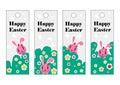 Vector set of Easter bookmark. Happy Easter, pink rabbit.