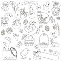 Vector set of Easter symbols