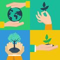 Vector set of ecology concepts hands holding sprouts in flat retro style Stock Images