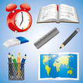 Vector set education icons isolated on blue Stock Photos