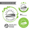 Vector set emblems of eco farm and natural food. Organic badges and labels