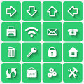 Vector set of emerald green flat style square buttons with office web application theme Royalty Free Stock Photography