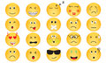 Vector set of emotion icons yellow in various mood Royalty Free Stock Image