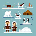 Vector set of eskimo characters with igloo house, dog, white bear and penguins. People in traditional eskimos costume