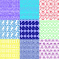 Vector set of ethnic Greek geometric seamless patterns Royalty Free Stock Photo