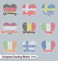 Vector Set: European Flag Heart Labels and Icons Stock Images