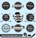 Vector Set: Fantasy Hockey League Champs Labels Royalty Free Stock Images