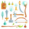 Vector set of fantasy magic weapons. Illustrations for computer game Royalty Free Stock Photo