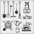 Vector set of farm and garden tools. Farmers market emblems. Royalty Free Stock Photo