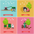 Vector set of farming, harvesting, beekeeping concept banners, flat style
