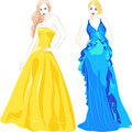 Vector Set of Fashion Top Model in Evening Dresses Stock Photography