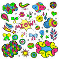 Vector set of fashionable patches elements like heart, flower, mail, cloud, leaf, sun. Royalty Free Stock Photo