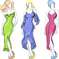 Vector Set of fasion beautiful top-model Stock Photo