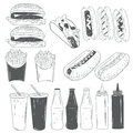 Vector set of fast food products isolated on white background in monochrome style. Design elements and icons.
