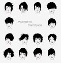 Vector set of female hair styles with beautiful face Royalty Free Stock Photos