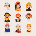 Vector set with female hipster avatars smiling and watching at spectator. Bright characters with various hairstyle and clothes, ha
