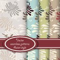 Vector set of fern seamless patterns Royalty Free Stock Photo