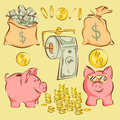 Vector set of finance items and metaphors in comic cartoon style: money bags, piggy bank, coins, dollar toilet paper Royalty Free Stock Photo