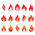Vector set of fire flames Royalty Free Stock Photo