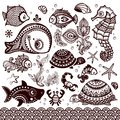Vector set of fish and flowers with ornaments shells Royalty Free Stock Images