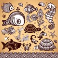 Vector set of fish and flowers with ornaments shells Royalty Free Stock Photography
