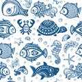 Vector set of fish and shells for your business Stock Photo