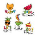 Vector set of five cool stickers, patches with food and summer symbols. Royalty Free Stock Photo