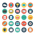 Vector set of 25 flat business icons with long shadow