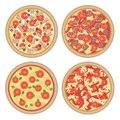 Vector set of flat italian pizzas with different ingredients iso