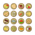 Vector set flat web icons with food. Drawn cartoon multicolored foodstuffs long shadow in round frame for internet, mobile apps,