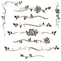 Vector set of floral dividers, calligraphic elements, decorative rose silhouettes for wedding invitation design