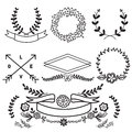 Vector set of Floral Elements and Banners vintage Royalty Free Stock Photo