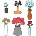Vector set of flower vase Royalty Free Stock Photo