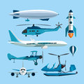 Vector set of flying transportation objects. Hot air balloon, rocket, helicopter, airplane, retro biplane. Design Royalty Free Stock Photo
