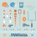 Vector set football equipment icons and symbols collection of retro style Royalty Free Stock Photography