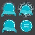 Vector set of four badges with ribbon can be used for website poster or flyer as price new top action and etc Stock Images