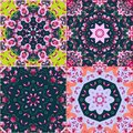 Vector set of four beautiful oriental pattern. Multicolor tiles.