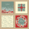 Vector set of four Christmas vintage templates.