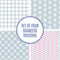 Vector set of four Cute Patterns. Seamless texture for paper or Royalty Free Stock Photo