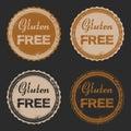 Vector set of four grunge signs Gluten Free