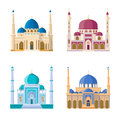 Vector set of four mosques. Arabic religion buildings. Cartoon illustrations set isolate on white background