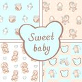 Vector set of four seamless baby boy patterns. Background for happy birthday or invitation card.